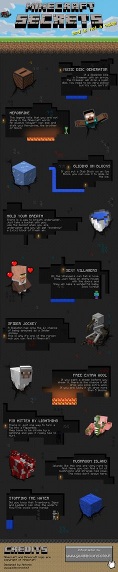Did you know that you can meet herobrine in your minecraft world? This is only a one of the 10 secrets that you can find in this infographic. As you probably know, minecraft is a best seller indie videogame where you can create whatever you want!