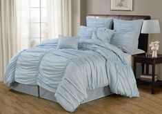 Lacozee - 8 Piece Oversized Light/Pale Blue Ruched Comforter Set in Queen & King Size