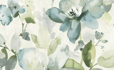 Artistic Floral Wallpaper in Blues and Metallic design by Seabrook Wallcoverings