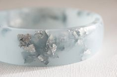 frost blue eco resin bangle bracelet with by RosellaResin on Etsy, $65.00