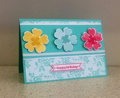 Stampin' Up! Flower Shop and I Love Lace Background Stamp By Glenys Preston