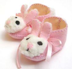 light pink and cream mrs bunny baby girl booties
