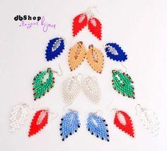 colorful beaded PEYOTE earrings, handmade jewelry