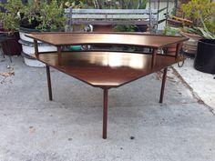 Mid century walnut corner table