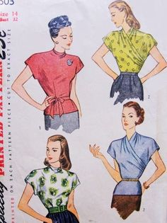 1940s Beautiful Blouse Pattern SIMPLICITY 1603 Stunning Surplice Version Extended Shoulders Film Noir Style Tuck In or Overblouses Bust 32 Vintage Sewing Pattern