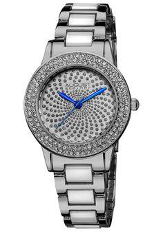 August Steiner Crystal Glitz Silver-tone and White Ceramic Ladies Watch AS8052SS - Watches  - Jomashop