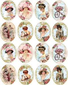 Bottlecap Victorian Women Round and Oval Glossy Stickers Scrapbooking Crafts   eBay