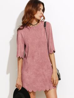 SheIn offers Pink Suede Scallop Mini Dress & more to fit your fashionable needs. Creation Couture, Embellished Dress, Stretch Dress, Chic Dress, Dress To Impress, Cute Dresses, Short Sleeve Dresses, Casual, Outfits