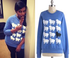 Looking supremely sweet, Mindy wears this blue sheep sweatshirt on the set of The Mindy Project. Thanks Kelli for the id! /// Only Ewe Sweatshirt by Kin Ship - $49.99 (also available from Kin Ship here)