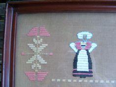 Antique Framed Needlework Tray Wall Hanging Scandinavian Folk Art by lookonmytreasures on Etsy
