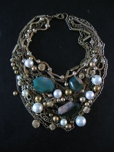 Statement Bib Necklace -  Upcycled Vintage Beads and Tangled Chains - Envy