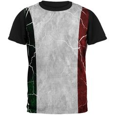 Distressed Italian Flag All Over Mens Black Back T Shirt