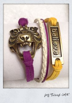i like it HER JEWELRY IS AWESOME AND SO REASONABLE!!!!------LSU Bronze Tiger Believe Leather/Cotton by AllThingsJolie78