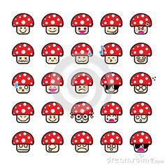 Illustration about Collection of difference emoticon icon of mushroom on the white background vector illustration. Illustration of icon, drawing, person - 58758982 Cartoon Mushroom, Plant Cartoon, Free Cartoons, Single Image, Different, Animal Drawings, Stuffed Mushrooms, Projects To Try, Illustration