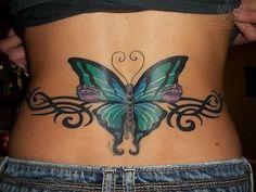 Beautiful Butterfly Tattoo On Lower Back – tattoo Tribal Tattoos, Bad Tattoos, Cover Up Tattoos, Trendy Tattoos, Body Art Tattoos, Tatoos, Ankle Tattoos, Unique Tattoos, Butterfly Tattoo Meaning