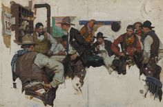 Dean Cornwell (1892 – 1960)  Confrontation at the Saloon, 1926  oil on canvas  30 by 45 inches (76.2 by 114.3 cm)(2526×1676)