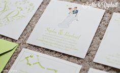 Faire-part de mariage sur mesure romantique avec illustrations personnalisées à l'aquarelle