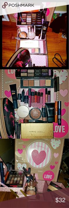 """Ulta makeup case with 25 + Ulta products!, New! Ulta 3 layer makeup case- Pink w/Leopard design & Ulta makeup bag. 25+ """"take away"""" items- leave in 20 tray-""""Just Face It"""" 20 pc.eye & face palette, mascaras, Flawless Primer, Baked Bronzer, Demi Matte foundation-Cream, Mineral foundation powder, matte lipsticks, glosses, highlighter stick, eye & lip liners, brow tint, nail Polish, 5 piece blush- bronzer % highlighter palette, etc.. makeup case is an adorable pink & folds out w/3 layers…"""
