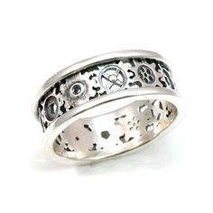 silver alternating gears band this would probably be better for the silver anniversary i - Gear Wedding Ring
