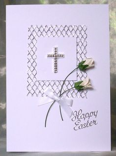 207. Easter rosebud card (could also be used for sympathy design). #handmade #Easter