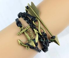 Antique bronze infinity arrow wax and anchor rope by Carlydiy, $4.99