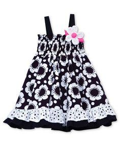 Baby Girls Black and White Flower Dress