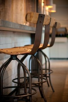 Rustic Bar Stool, masculine in materials but contemporary style