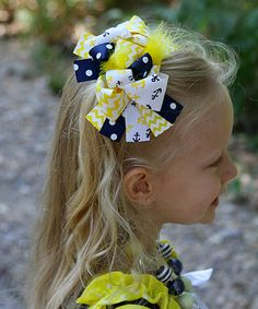 $7.99! Another great find on #zulily! Yellow & Navy Anchor Bow Clip #zulilyfinds