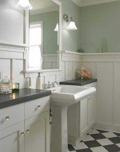 Arts & Crafts Style Bathroom paneling   House Stuff EB's bathroom but with different floor