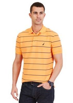 Nautica Sun Coast Orange Short Sleeve Stripe Deck Polo Shirt