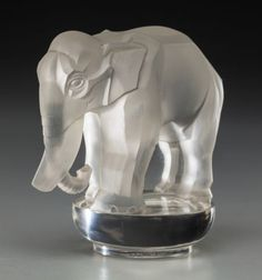 60178: R. Lalique Clear and Frosted Glass Toby, Elephan : Lot 60178