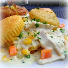Chicken Shortcake or I'd call it Chicken Stew with Corn Muffins