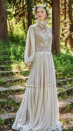Summer Wedding Dresses costarellos spring 2019 bridal long bishop sleeves high neck heavily embellished bodice romantic bohemian soft a line wedding dress covered button back sweep train mv -- Costarellos Spring 2019 Wedding Dresses Western Wedding Dresses, Luxury Wedding Dress, Wedding Dresses Photos, Bohemian Wedding Dresses, Bridal Dresses, Wedding Hijab, Dress Wedding, Backless Wedding, Wedding Beauty