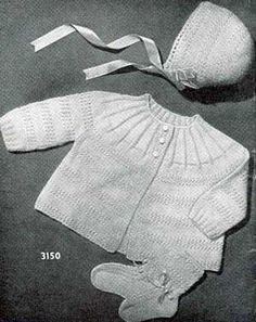 Little Angel Baby Set, Infants to 6 Months | Knitting Patterns free knit baby cardigan pattern