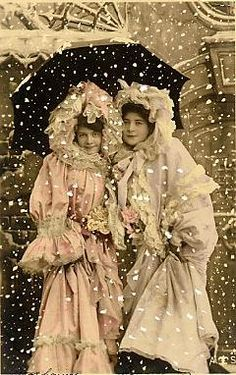 Vintage Christmas Image of Friends or Sisters in the snow ~ Cony, remember Arkansas, by the fire in the cold?  <3 You