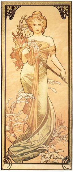 """Alphonse Mucha """"Art Nouveau ~ Le Printemps ~ by Mucha A Czech Art Nouveau painter and decorative artist, most well known for his images of women. He produced many paintings, illustrations, advertisements and designs. Mucha Art, Art Photography, Fine Art, Art Nouveau Mucha, Art, Art Deco, Vintage Posters, Art History, Love Art"""