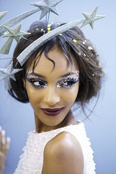 Jourdan Dunn dramatic sequences eyes and lovely dark lip http://intothegloss.com/2013/07/glitter-makeup-inspiration/ Omg that fascinator though!!!