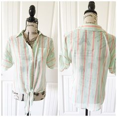 "Mint Sheer Striped Top This top has light green, white & peach colored stripes. It ties at the waist & looks great with white pants{actual color of item may vary slightly from pics}  *shoulders:21"" *chest:20"" *waist:19.5"" *length:20"" *material/care:100%polyester/machine wash *fit:true/a little baggy might work for med/Sml  *condition:good/no rips/stains  20% off bundles of 3/more items No Trades  NO HOLDS No transactions outside of Poshmark  No lowball offers Tops Button Down Shirts"