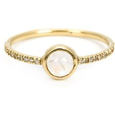 Irene Neuwirth 18kt gold moonstone ring (€2.705) ❤ liked on Polyvore featuring jewelry, rings, accessories, anel, irene neuwirth, metallic, fine jewelry, yellow gold jewelry, gold rings e gold fine jewelry