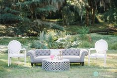 Grey Magister Sofa + Louis Medallion Chairs + Marlow Drum Coffee Table + Snyder Events | Classic Southern Halloween Wedding at The Legare Waring House by Charleston Wedding Planner ELM Events