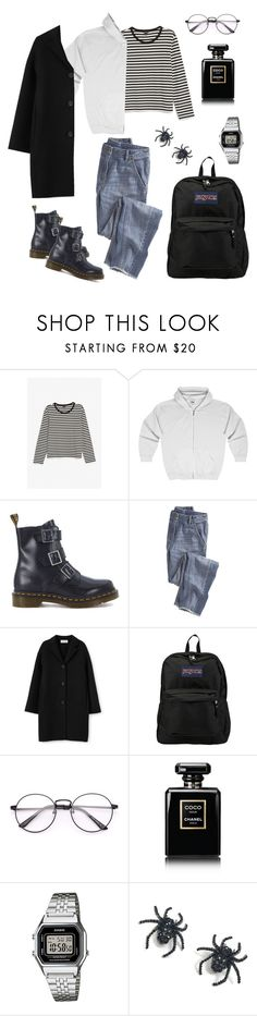 """Untitled #58"" by haylee0110 on Polyvore featuring Monki, Dr. Martens, Wrap, JanSport, Chanel, Casio and Tarina Tarantino"