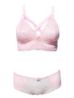 Kawaii Pastel Pink Lace Caged Bra & Panties