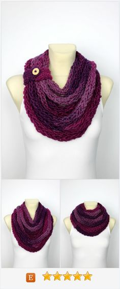 Chunky Chain Scarf - Bulky Knit Scarf - Womens Knit Infinity - Knit Rope Scarf…