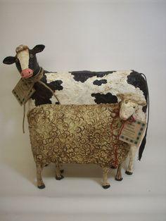 Primitive Paper Mache Folk Art Sheep von papiermoonprimitives, $65,00
