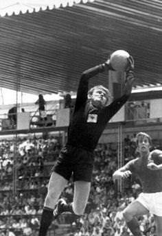 West Germany 3 England 2 in 1970 in Leon. Sepp Maier takes the high ball. Geoff Hurst waits for a mistake in the World Cup Quarter Finals.