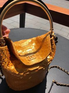 Chanel Chevron Python Handle with Chic Bucket Bag A57861 Gold 2018 Gold  2018 80c922ae8b60c