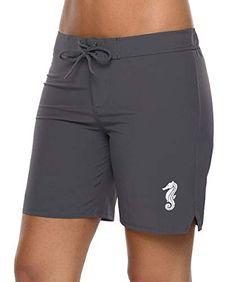 92564d728b Women's Board Shorts - ALove Women's Solid Stretch Board Shorts Swimwear  Quick Dry Swim Shorts Swimsuit Bottom at Women's Clothing store:
