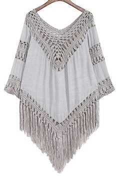 Hollow Out Tassels Spliced Solid Color Blouse