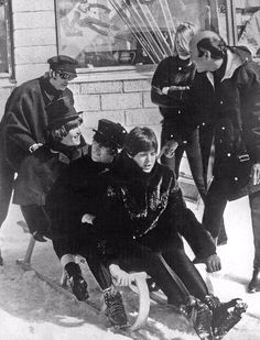 """OTD 14MAR1965 The #Beatles first day of filming the Austrian snow scenes for """"HELP!"""". They shoot an unused """"toboggan hire"""" sequence."""