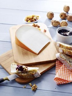 Hard Goat Cheese Wedge on a cheeseboard